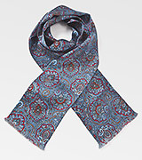 Moroccan Paisley Scarf in Blues and Reds