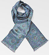 Mens Moroccan Paisley Scarf in Blues and Greens
