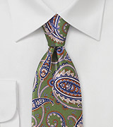 Vintage Paisley Silk Tie in Greens and Blue