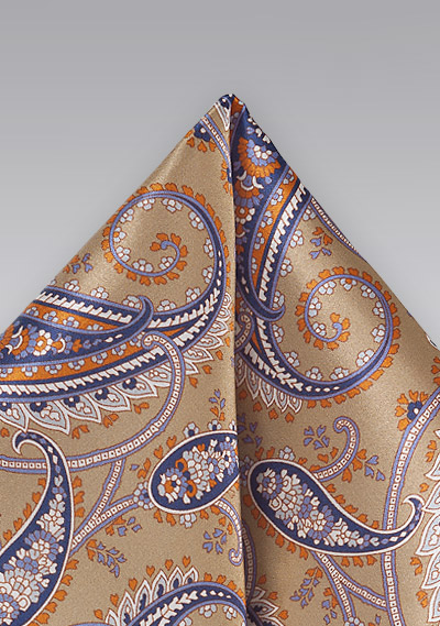 Designer Paisley Pocket Square in Camels and Tans