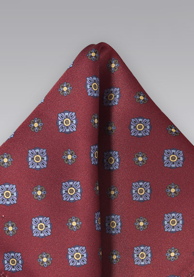 Art Deco Floral Pocket Square in Merlot