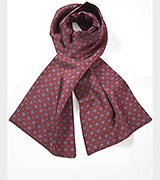 Designer Silk Scarf in Burgundy and Blues