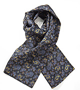 Elegant Paisley Scarf in Blacks, Blues and Golds