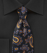 Elegant Paisley Tie in Blacks, Blues and Golds
