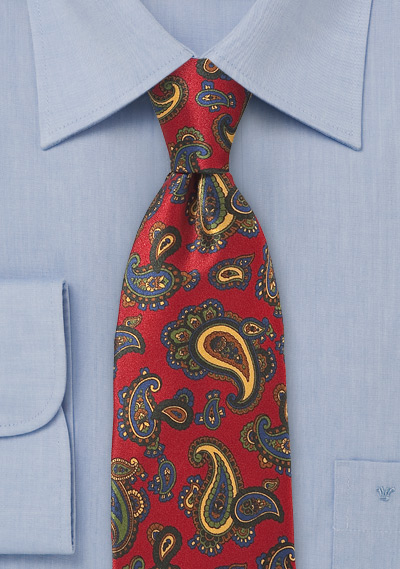 Elegant Paisley Tie in Imperial Red