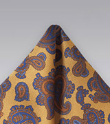 Regal Paisley Handkerchief in Vintage Gold