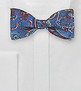 Paisley Bow Tie in Purple and Red