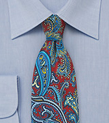 Intricate Paisley Silk Tie in Red, Blue, Yellow