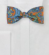 Paisley Bow Tie in Cognac Brown and Purple