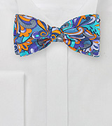 Art Nouveau Print Bow Tie in Orange and Turquoise