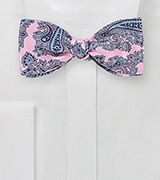 Pink and Blue Paisley Bow Tie
