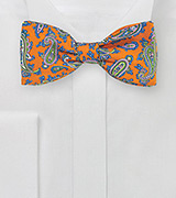 Orange and Green Paisley Bow Tie