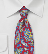 French Paisley Tie in Red, Blue, and Yellow
