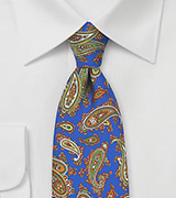 French Paisley Tie in Horizon Blue and Green