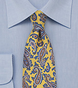 French Paisley Tie in Yellow and Blue