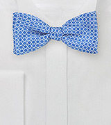 Graphic Print Bow Tie in Marina Blue