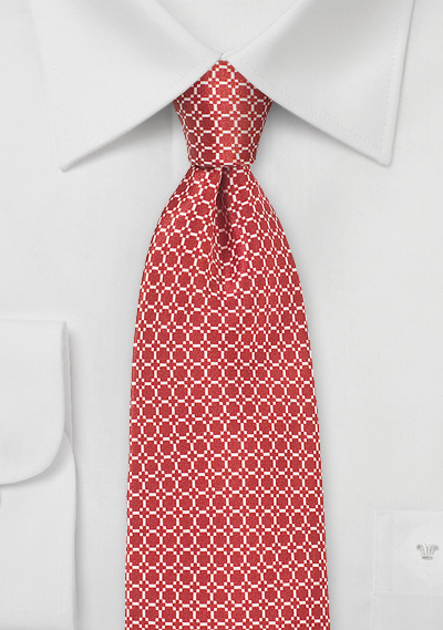 Bright Red MOD Print Silk Tie
