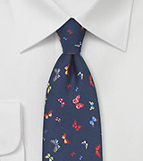 Navy Silk Tie with Colorful Butterfly Print