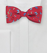 Red Bow Tie with Butterflies