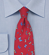 Red Silk Tie with Colorful Butterflies