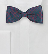 Dot Design Bow Tie in Navy and Red