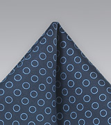 Navy and Light Blue Circle Pattern Pocket Square