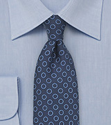 Dot Pattern Silk Tie in Navy and Light Blue