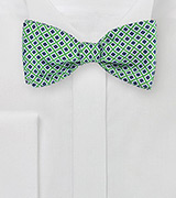 Vintage Check Bow Tie in Blue, Green, White