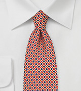 Diamond Check Tie in Red, Navy, Yellow