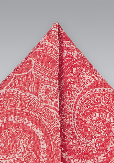 Cotton Paisley Print Pocket Square in Red