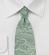 Summer Green Paisley Cotton Tie