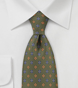 Olive Green Tie with Blue and Orange Accents