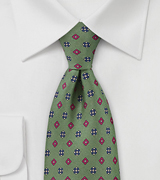 Art Deco Tie in Muted Olive Green