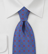 Twirling Florals Tie  in Bright Royal Blue