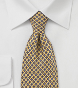 Diamond Motif Tie in Yellows, Blues and Browns