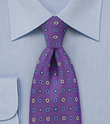 Purple and Blue Patterned Neck Tie