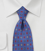 Decorate Emblem Tie in Royal Blue