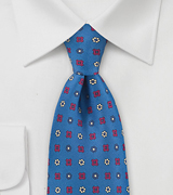 Emblem Patterned Tie in Marine Blue
