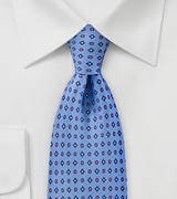 Geometric Tie in Ocean Blues and Reds