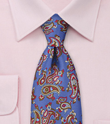 Punchy Paisley Tie in Sapphire Blue