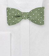Moss Green Bowtie with Modern Polka Dot Design