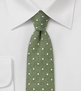 Artisan Crafted Skinny Tie in Muted Green