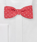 Textured Polka Dot Bow Tie in Red