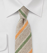 Retro Striped Skinny Tie in Tans, Greens and Oranges