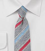 Retro Skinny Tie in Navy, Blue and Red