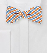 Gingham Self Tie Bow Tie in Oranges