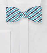 Gingham Self Tie Bow Tie in Blues