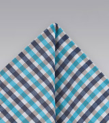 Gingham Patterned Pocket Square in Blues and Aquas