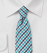Slim Cut Gingham Tie in Blues