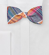 Madras Plaid Bow Tie in Blues and Oranges